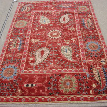 #7847Suzani 3.11x6.7 Made in Afghanistan of hand spun wools/veg. dyes