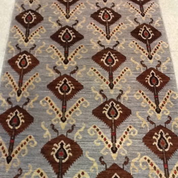 #7094 Ikat 3x4.9 Finely knotted in Afghanistan of hand spun wools/veg. dyes