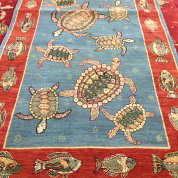 Turtles with fish border! Made in N.India of hand spun wools/veg. dyes